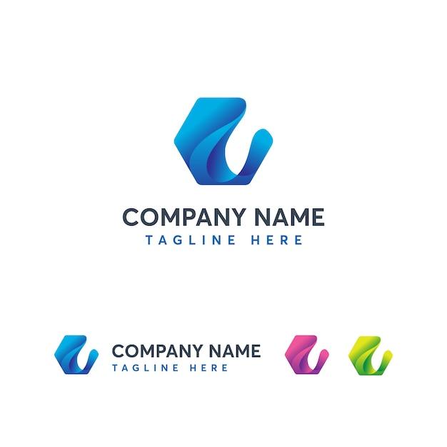 Modern wave letter eのロゴのテンプレート Premiumベクター