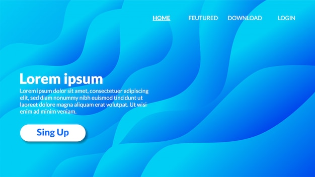 Modern wavy blue background gradient landing page Premium Vector