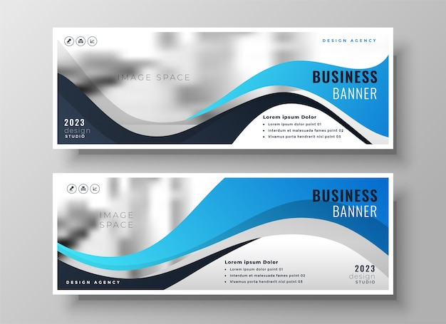 Modern wavy business blue wide facebook cover or header set of two Free Vector