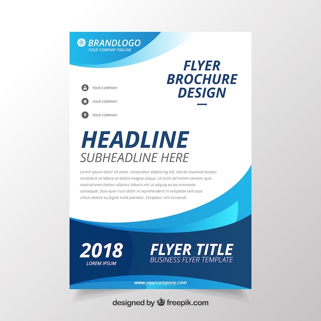 modern wavy business brochure template vector free download