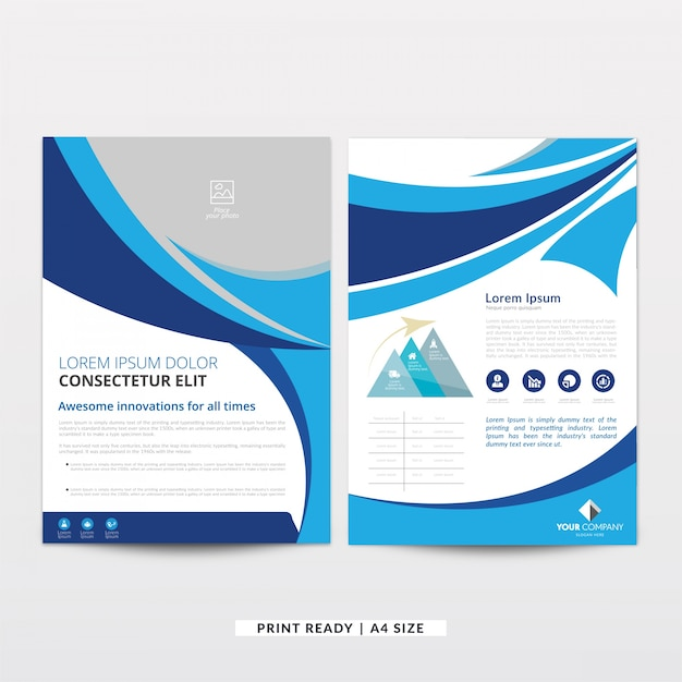 Modern wavy curved brochure template Free Vector