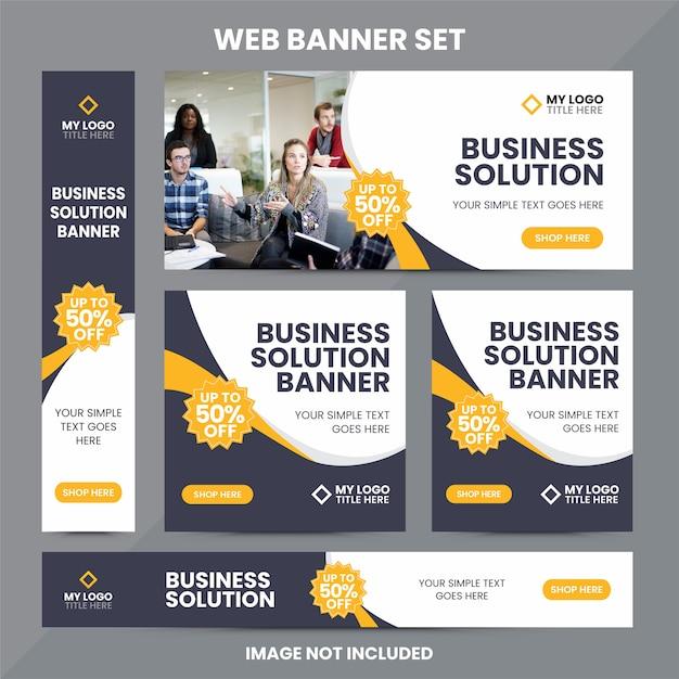 Modern web banner ad set template Premium Vector