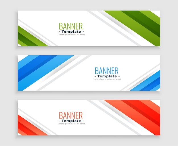 Bandiere di affari web moderno set di tre modelli Vettore gratuito
