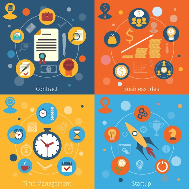 Modern web concepts flat set with contract business idea time management startup isolated vector illustration Free Vector