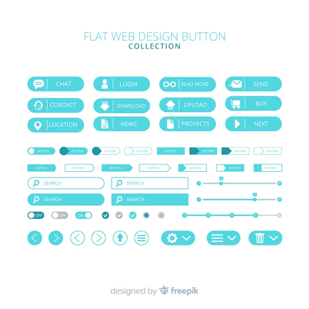 Modern web design button collection with flat design Free Vector