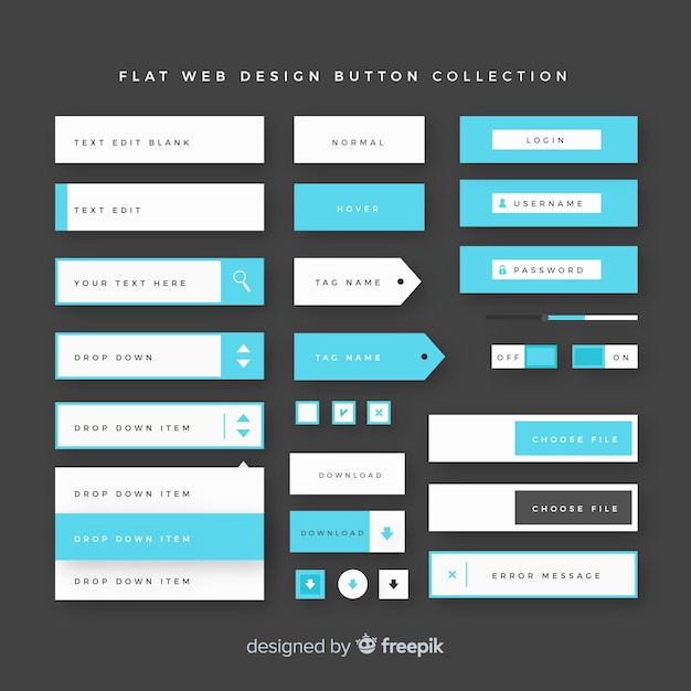 Modern web design button collection with flat design Vector | Free