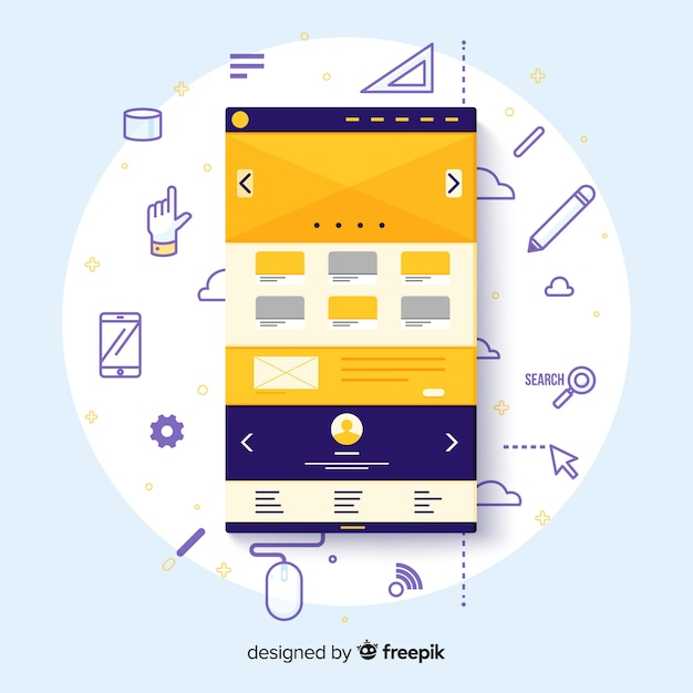 Modern web design concept with flat style Free Vector