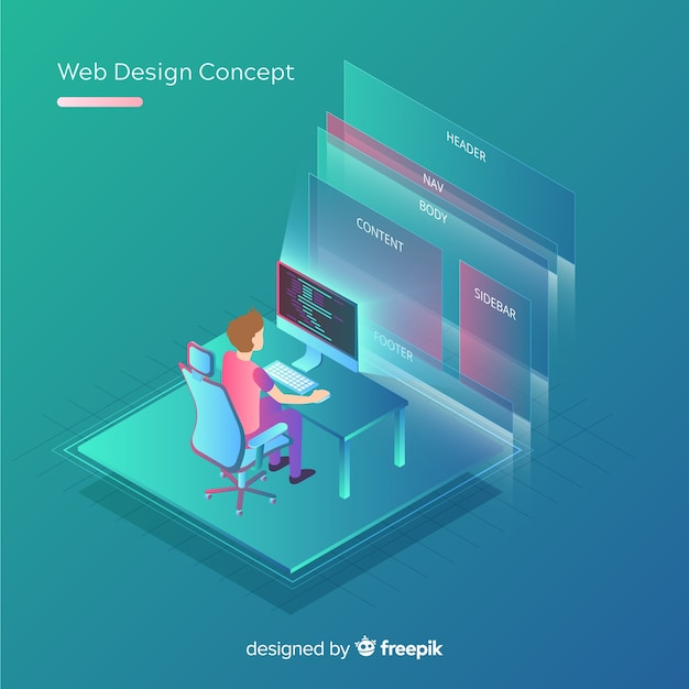 Modern web design concept with isometric view Free Vector