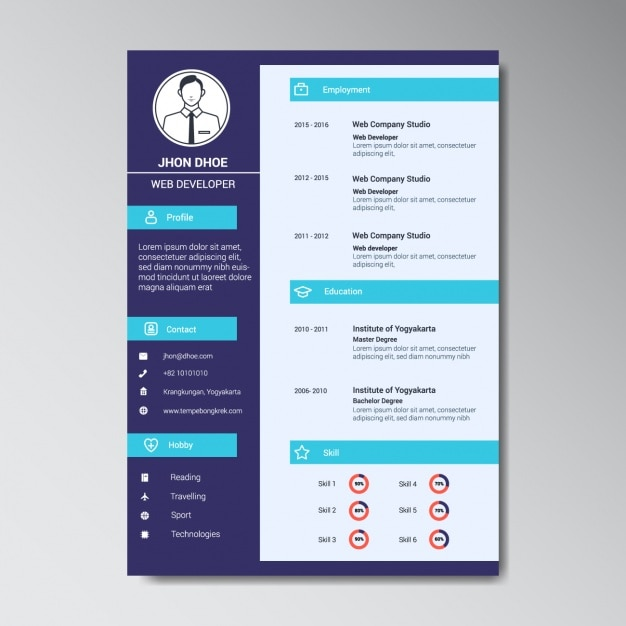 Modern web developer resume template Vector Free Download