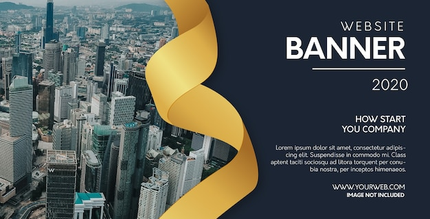 Modern website banner with realistic golden ribbon Free Vector