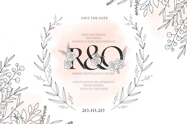 Modern wedding card template with flowers Free Vector