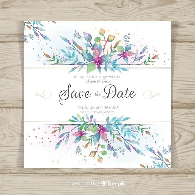 Modern wedding card with watercolor leaves Free Vector