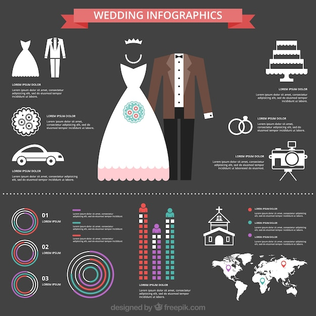 Modern Wedding Infographic Vector