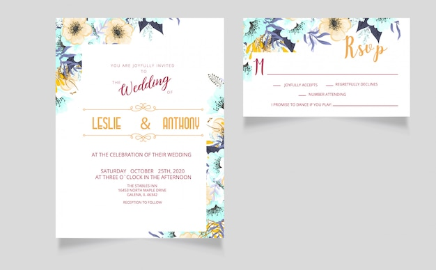 Modern wedding invitation  card and rsvp card Premium Vector