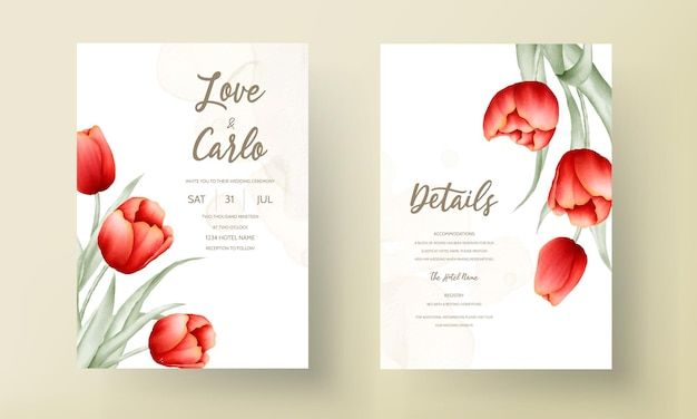 Modern wedding invitation card with beautiful red tulip flower Free Vector