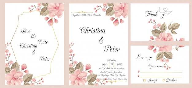 Modern wedding invitation card with thank you card and rsvp Premium Vector