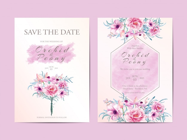 Modern wedding invitation cards  of flowers bouquet Premium Vector