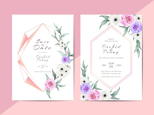 Modern wedding invitation  cards with geometric frame Premium Vector