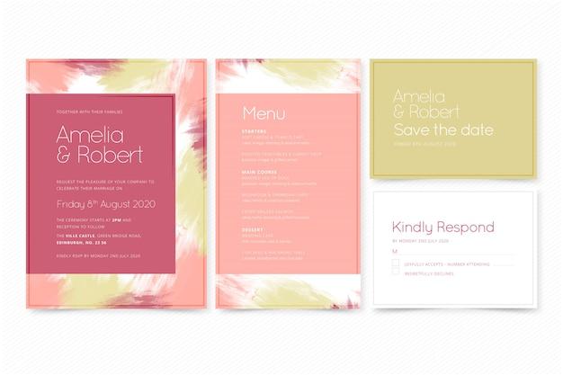 Modern wedding invitation template Premium Vector