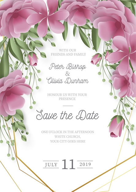 Modern wedding invitation with realistic flowers Free Vector