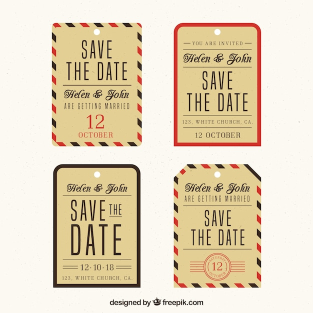 Modern wedding label collection