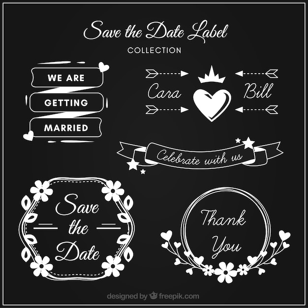 Modern wedding labels on blackboard