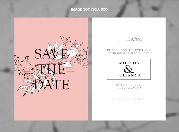Modern wedding save the date living coral branches vector template Premium Vector