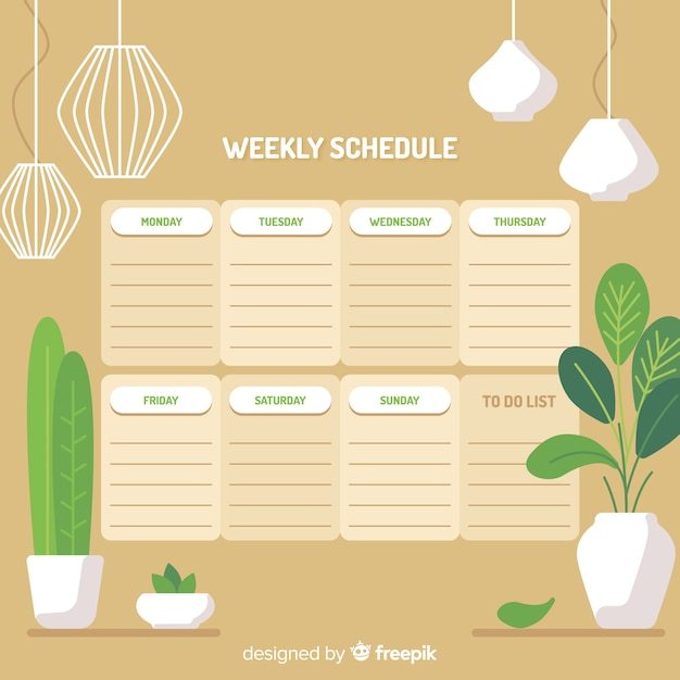 Modern weekly schedule template with flat design Free Vector