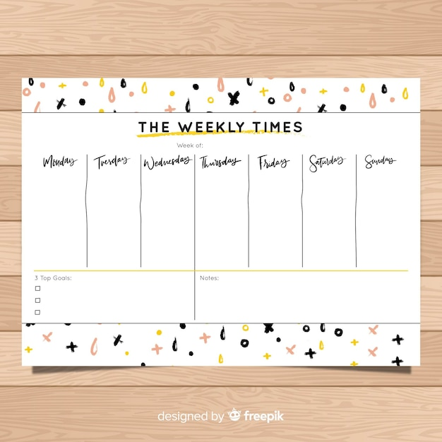 Weekly Schedule Template With Times from image.freepik.com