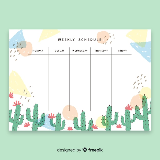 Modern weekly schedule template with watercolor cactus Free Vector