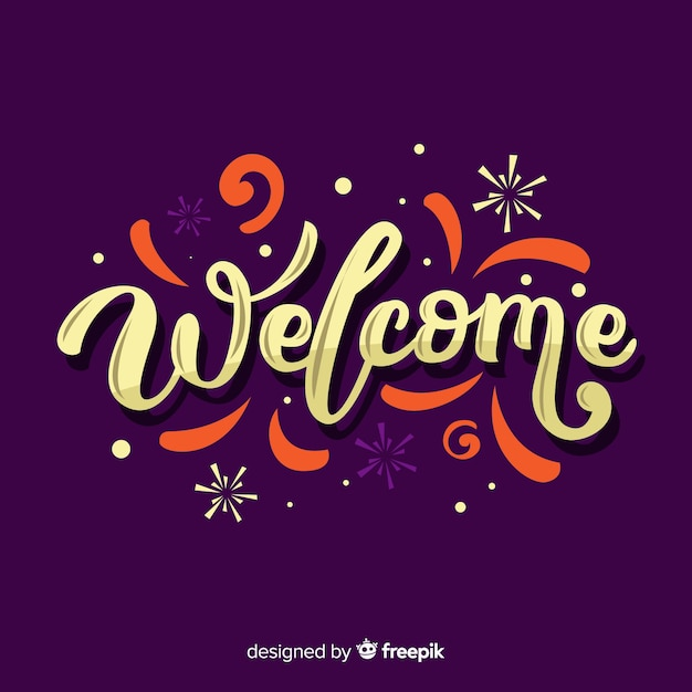 Modern welcome lettering design Free Vector