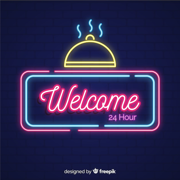 Modern welcome sign post with neon light style Free Vector