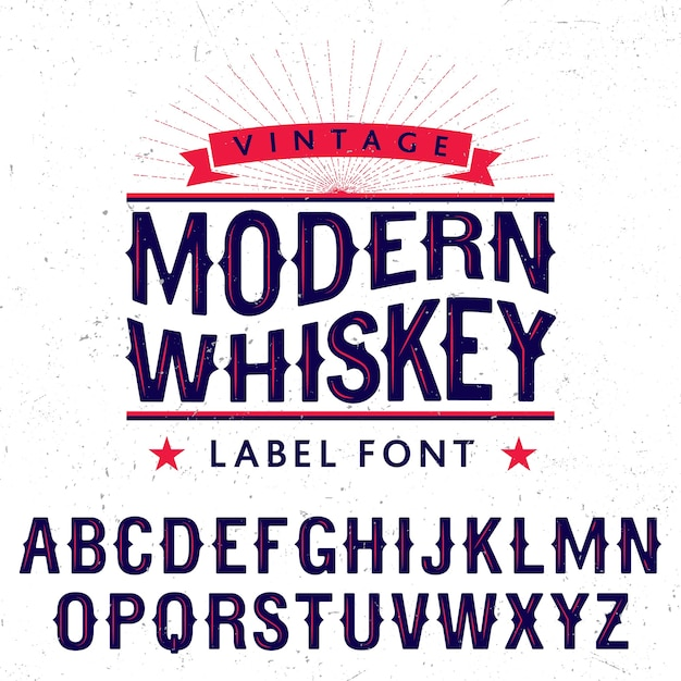 Modern whiskey label font poster Free Vector
