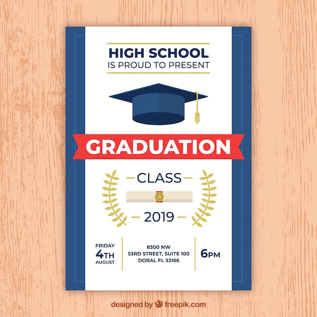 Modern white and blue graduation party invitation Free Vector