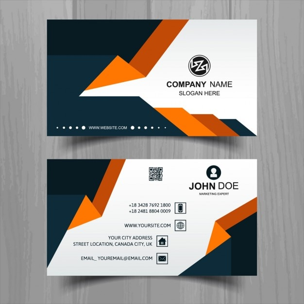 Modern white business card with orange and black shapes vector modern white business card with orange and black shapes free vector reheart Image collections