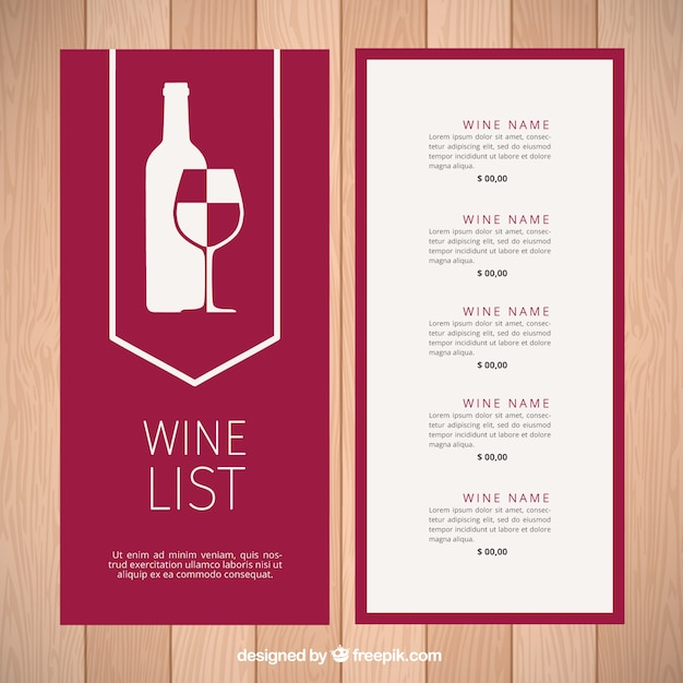 Modern Wine List Template Free Vector Pertaining To Free Wine List Template