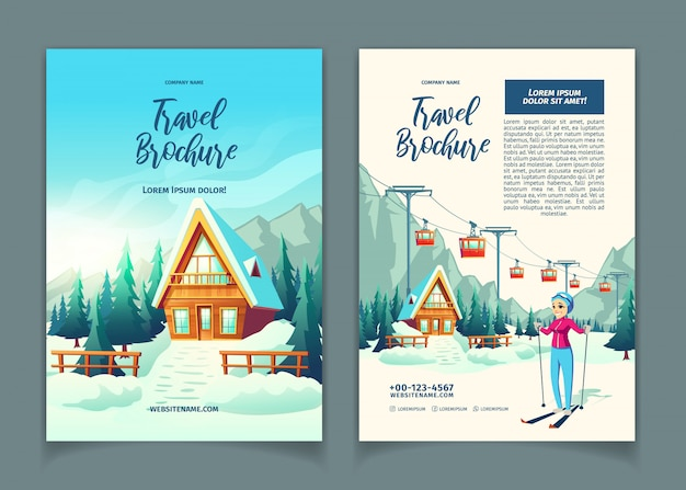 Modern winter resort cartoon  ad brochure, promo flyer template Free Vector