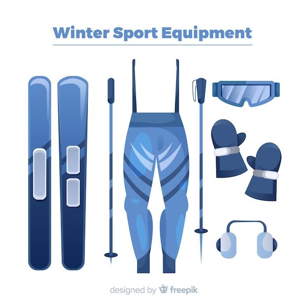 Modern winter sport equipment with flat design Free Vector