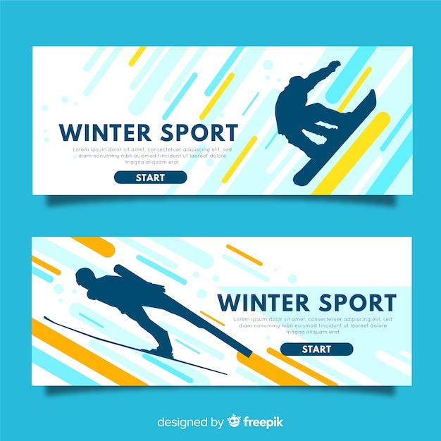 Modern winter sports banners Free Vector