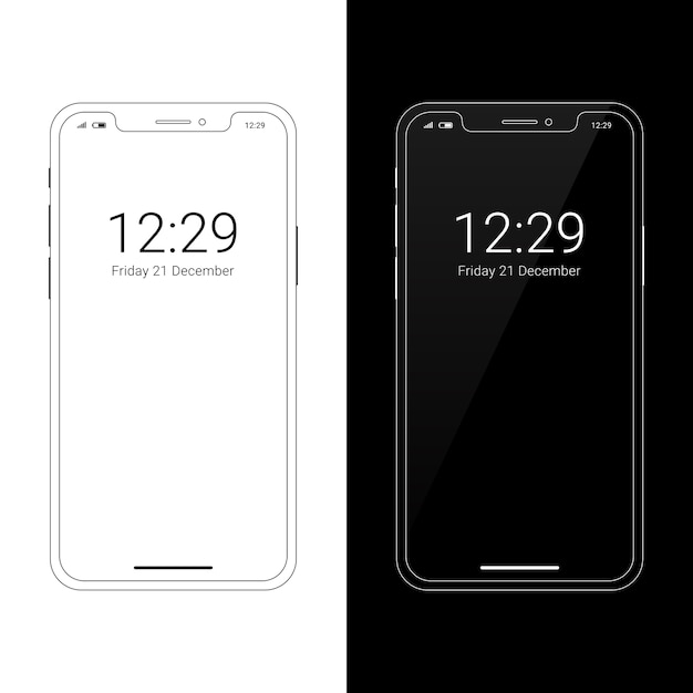 Modern wireframe smartphone mockup with notch display Premium Vector