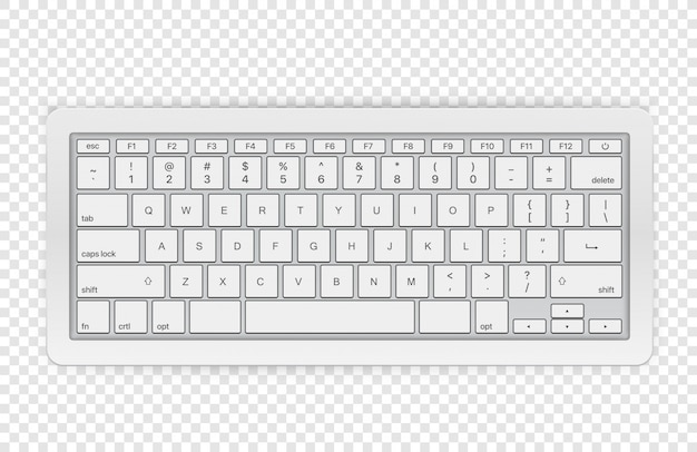 Modern Wireless Keyboard Isolated On Transparent Background Top View Premium Vector