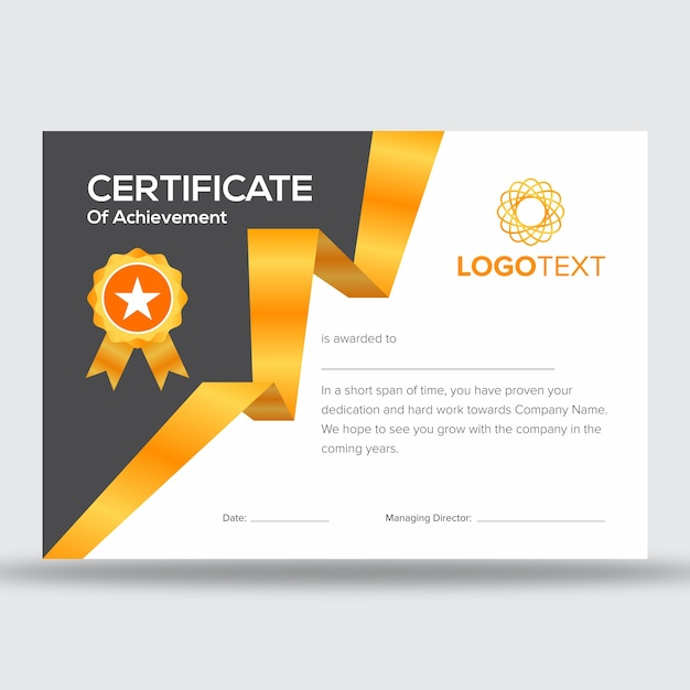 Modern With Gold Strip Appreciation Certificate Templates Premium Vector
