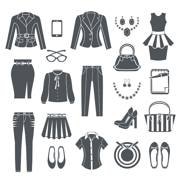 Modern woman clothes collection black icons set of dress pants blouse jeans handbag shoes and jewelry flat isolated vector illustration Premium Vector