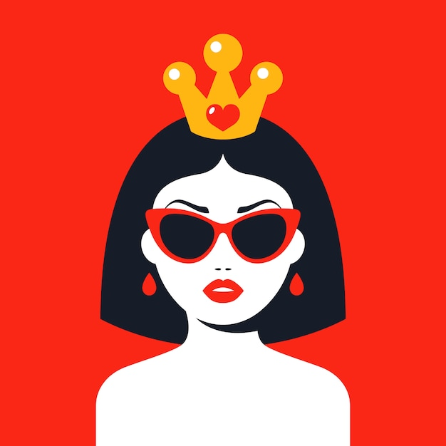 Modern woman with a crown and glasses Premium Vector