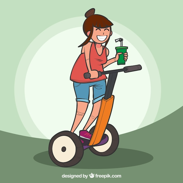 Modern woman with segway and drink Free Vector