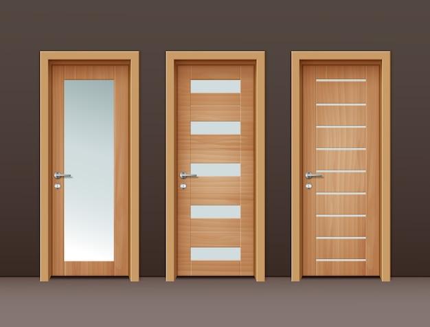 Moderne porte in legno con vetro in stile eco-minimalista su parete di colore marrone Vettore gratuito