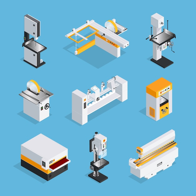 Modern woodworking machinery isometric set Free Vector