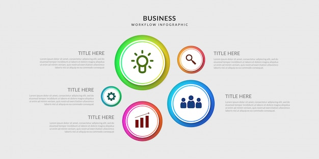 Modern workflow infographic template, business process graphic with multiple option Premium Vector
