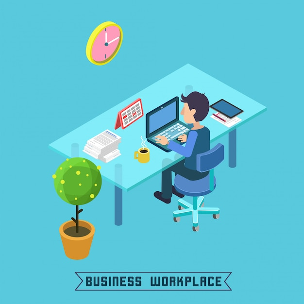 Modern workplace isometric office Premium Vector
