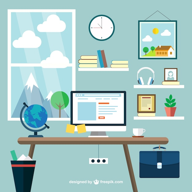 Modern workplace Free Vector